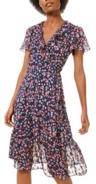 Michael Kors Michael Ruffle-Trim Faux-Wrap Dress