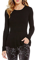 Buffalo David Bitton Pepstretch Crew Neck Peplum Sweater