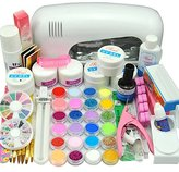 Nail Dryer 9w Uv Dryer Lamp 24 Colors Acrylic Powder Nail Art Kit Gel Tools Full Set Professional by MJshop