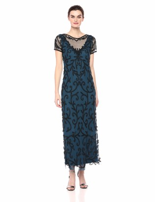 Pisarro Nights Women's Long Illusion Neck Dress with Beaded Motif