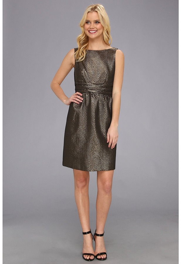 Ivy & Blu Maggy Boutique - S/L Textured Fit Flare w/ Wrap Waist Jacquard Dress (Gold) - Apparel