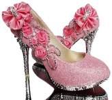 Naly Women's Pearl Glitter Bridal Shoes Wedding Dress Mid Heel Sandals 4B