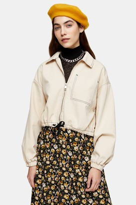 Topshop Womens Considered Ecru Organic Cotton Jacket - Ecru