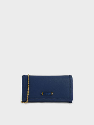 Charles & Keith Stone-Embellished Front Flap Long Wallet