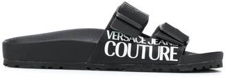 Versace buckled logo print slides