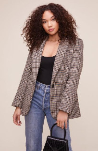 ASTR the Label The Harlow Blazer In Hazelnut Plaid - S