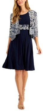 Jessica Howard Petite Draped Jacket & Fit & Flare Dress