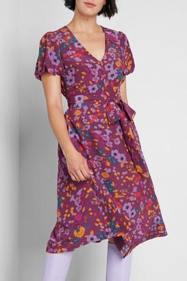 ModCloth Woven Short Sleeve V-Neck A-Line Midi Dress