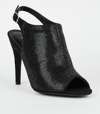 New Look Gem High Vamp Peep Toe Boots