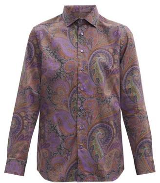 Etro Paisley-print Cotton-poplin Shirt - Purple Multi