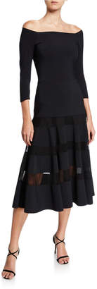 Chiara Boni Off-the-Shoulder A-Line Midi Dress with Sheer Skirt Insets