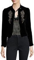 Nanette Lepore Embellished Structured Velvet Jacket, Black