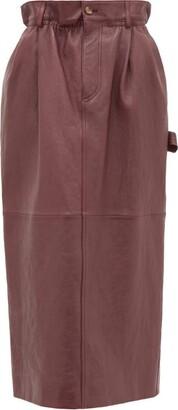 Miu Miu High-rise Paperbag-waist Leather Midi Skirt - Dark Red