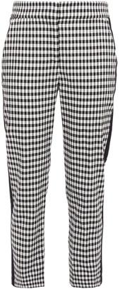 Veronica Beard Cropped Gingham Crinkled-woven Slim-leg Pants