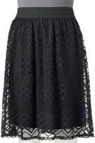 Juniors' Joe B Lace Overlay Midi Skirt