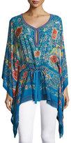 Roberto Cavalli Enchanted Garden Silk Caftan, Blue