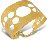 Stefano Patriarchi Golden Silver Etched Cut Out Cuff Bracelet