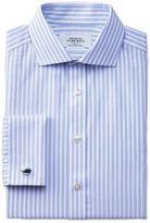 Charles Tyrwhitt Extra Slim Fit Spread Collar Non Iron Stripe White and Sky Blue Cotton Dress Shirt Size 15/35