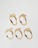 Asos Pack of 5 Mixed Geo Shape Stack Rings