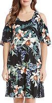 Karen Kane Orchid Garden Print Cold Shoulder Dress