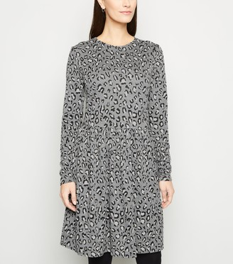 New Look Light Leopard Jacquard Mini Dress