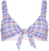 Ambra Maddalena Becca bow-embellished checked bikini top