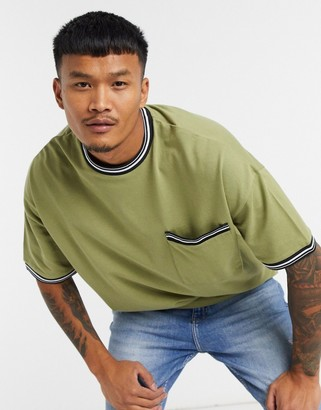 ASOS DESIGN oversized pique T-shirt with tipping and pocket in khaki