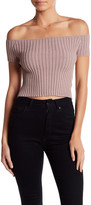 Blvd Ribbed Off-the-Shoulder Cropped Tee