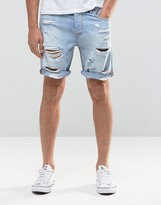 Asos Denim Shorts In Slim Fit With Extreme Rips