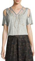 Haute Hippie Fly High Cutout Embellished V-Neck Tee