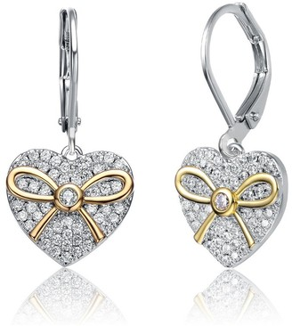 Collette Z Sterling Silver Two Tone with Clear Cubic Zirconia Leverback Earrings