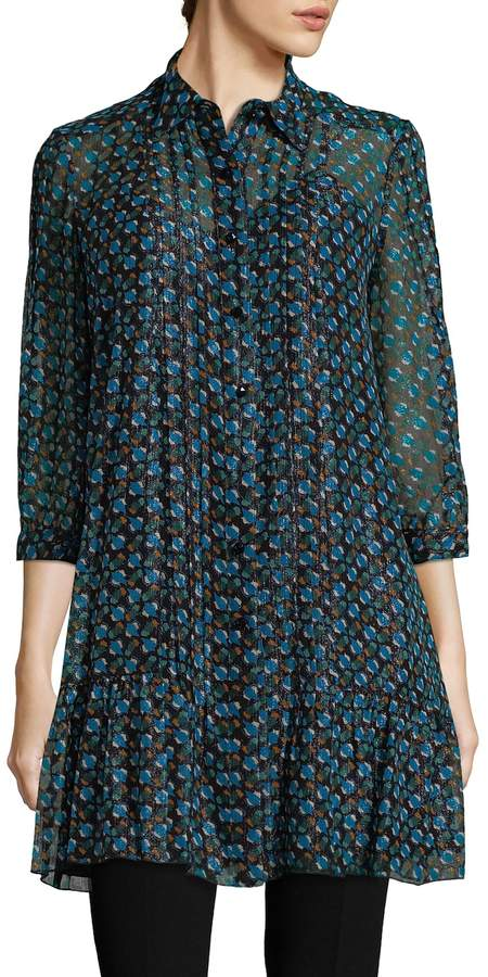 Anna Sui Women's Drop Waist Tulip Shirtdress