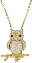 Stella Grace Lab-Created White & Yellow Sapphire Owl Pendant