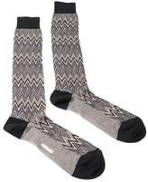 Missoni Gm00cmu5242 0004 Gray/black Knee Length Socks.