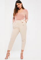 Missguided Plus Size Nude Pleated Waist Cigarette Trousers