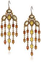 Lucky Brand Women's Citrine And Mop Set Stone Earrings