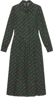 Gucci Tie-Detailed Logo-Print Dress