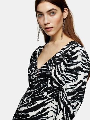 Topshop Zebra Ruch Sleeve Midi Dress - Mono