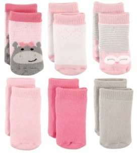 Luvable Friends Terry Crew Socks, 6-Pack, Hippo and Owl, 0-12 Months