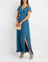 Charlotte Russe Surplice Cold Shoulder Maxi Dress