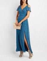 Charlotte Russe Surplice Cold Shoulder Maxi Dress