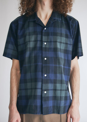 Gitman Brothers Men's Archive Cotton Madras SS Camp Shirt in Blackwatch, Size Small | 100% Cotton