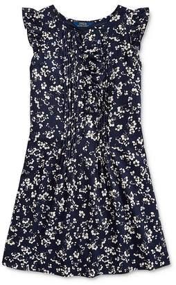 Ralph Lauren Girls' Pintucked Floral Print Dress - Big Kid