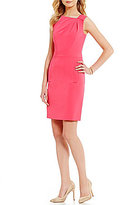 Anne Klein Crepe Asymmetrical Neckline Sheath Dress