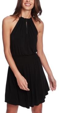 1 STATE Halter-Neck Smocked-Waist Dress