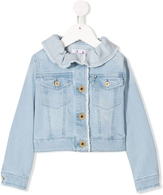 Il Gufo Ruffle-Neck Denim Jacket