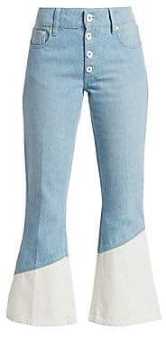 Each X Other Women's Bleach Hem Cropped Flare Jeans