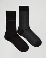 Boss By Hugo Boss Wool Mix Socks In 2 Pack