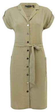 Dorothy Perkins Womens Khaki Light Linen Look Shirt Dress, Khaki