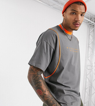Reclaimed Vintage oversized tshirt in grey with orange piping and branding